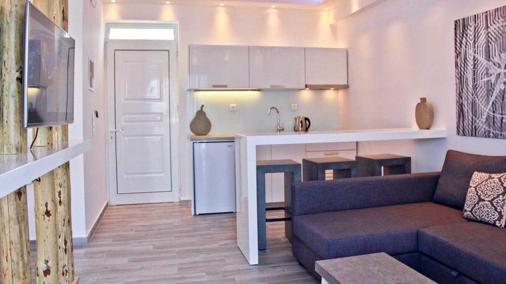 Junior Suite Living room & kitchen - Porto Kalamaki Chania Crete