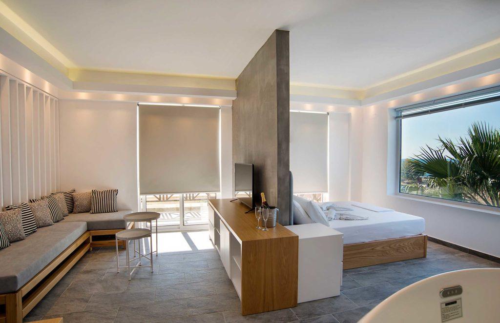 Honeymoon Suite Interior view Bedroom - Porto kalamaki Hotel, Chania Crete - Greece